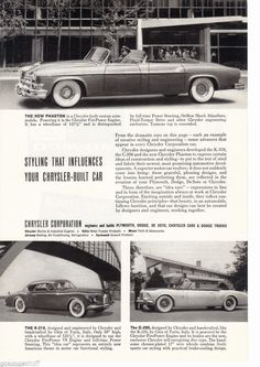Chrysler Idea Cars Ghia Ad Phaeton K-310 C-200 1952 Mopar Print ad