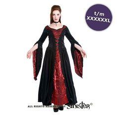 Margaret middeleeuws zwart/rode lange gothic jurk van fluweel - Gothic Halloween - S - Sinister