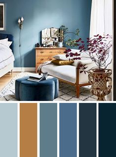 Blue and brown bedroom color inspired. Find color inspiration ideas for your home. Blue and brown color palette ,Blue and brown bedroom color #colorpalette #colorinspiration #color #bedroom