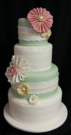 green ruffle wedding cake   Flickr - Photo Sharing!