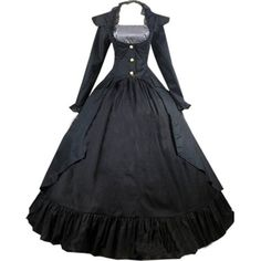 Partiss Women Long Vintage Cotton Gothic Victorian Dress Costumes ($90) ❤ liked on Polyvore featuring costumes, victorian costumes, womens gothic halloween costumes, lady costumes, victorian halloween costumes and lady halloween costumes