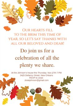 """Sharing The Plenty""  printable invitation template. Customize, add text and photos. Print or download for free!"