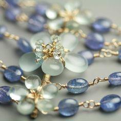 Aquamarine Flowers and Tanzanite Multi Strand Bracelet by fussjewelry on #etsy #jewelry #bracelet #aqua #handmade