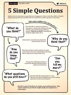 5 Simple questions: What do you think? Why do you think that? Can you tell me more? How do you know this? What questions do you still have?