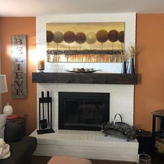 Michelle added a photo of their purchase Floating Fireplace, Wood Fireplace Mantel, Wood Mantels, Wood Mantel Shelf, Black Walls, Rustic Wood, Beams, Farmhouse, Shelves