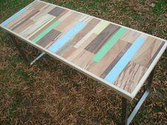 Madera reciclada pintada mesa