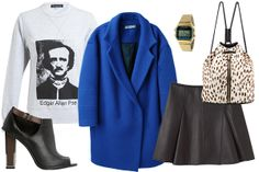 Add some edge to ol' Poe with a tart leather mini that'll turn this outfit from bookworm to...okay, still bookworm. In case you hadn't noticed, sweatshirts got a major update this season. And, donning some leather is an easy way to dress up the casual piece. Seriously, who wouldn't want to be a walking literary reference?  Ostwald Helgason Edgar Allen Poe Printed Cotton Sweatshirt, $218, available at Browns; Jacquemus Oversized Coat, $719, available at La Garçonne