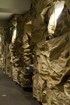 churcheventipedia.com - How to Make Rock Walls hang paper bats from the ceiling Cave Quest VBS 2016