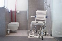 Aquatec Ocean Shower Chair with 5 Inch Wheels is a height-adjustable shower commode chair with 2 wheel options - standard with 5 locking swivel casters or as a self-propel model with wheels and push rims. Shower Commode Chair, Shower Chair, Shower Seat, Shower Doors, Wheelchair Accessible Shower, Cheap Dining Chairs, Handicap Bathroom, Walk In Tubs, Foot Rest