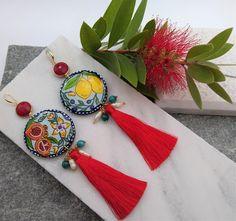 Painted earrings. Greek fruits lemon pomegranate colorful earrings. Statment Dangle tassel Pearl earrings. Inspirational Greek jewelry gift #FruitEarrings #LemonEarrings #MadeInGreece #RoundEarrings #ArtJewelry #GreekEarrings #TasselEarrings #PomegranateEarrings #PaintedEarrings #ArtEarrings Round Earrings, Tassel Earrings, Pearl Earrings, Beaded Bracelets, Greek Jewelry, Jewelry Art, Jewelry Gifts, Pomegranate Earrings, Business Gifts