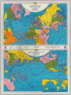 War map Atlantic, Eurasia, Africa, Pacific Ocean. / Rand McNally and Company; Sun Oil Company / 1942