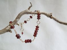 AAA Garnets- 14K Gold Filled Bracelet Fibonacci Geek Chic on Etsy, $135.00