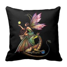 Dragon's Orbs Faerie Fairy and Dragon Throw Pillow.....   If I could find material with fairies on it, I could make a pillow.