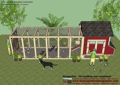 home garden plans: L102 - Chicken Coop Plans Construction - Chicken Coop Design - How To Build A Chicken Coop Chicken Hut, Walk In Chicken Coop, Easy Chicken Coop, Diy Chicken Coop Plans, Chicken Garden, Chicken Coop Designs, Building A Chicken Run, Tropical House Design, Dog Houses