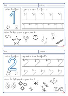5 fiches pour apprendre à écrire les chiffres de 1 à 5 et pour aborder la… Numbers Preschool, Learning Numbers, Preschool Curriculum, Math Numbers, Kindergarten Math, Teaching Math, Math Activities, Preschool Activities, Math For Kids