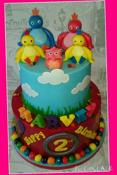 Twirlywoos cake with edible figures Boys 1st Birthday Cake, Birthday Cakes, Birthday Ideas, Twirlywoos Cake, Cake Craft, Cake Board, Themed Cakes, Party Cakes, First Birthdays