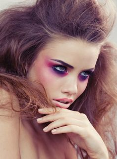 Make up: Eyeshadow; pink looks tough against the purple/black colours; like the application. eyebrows; shape, definite & depth is stunning - very effective