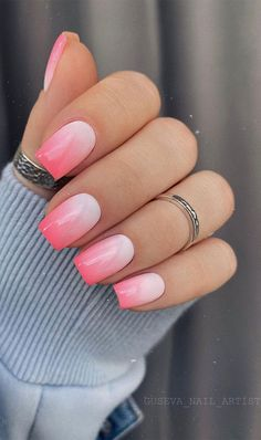 Pink Tip Nails, Sns Nails Colors, Pink Ombre Nails, Neutral Nails, Gel Nails, Ombre Nail Art, Lilac Nails Design, Ombre French Nails, Summer French Nails