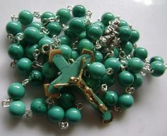 Rare Precious Turquoise Beads Rosary and Turquoise Cross Catholic