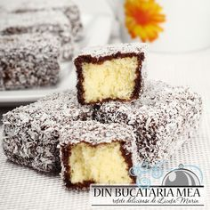From my kitchen: Pastry Lamington Köstliche Desserts, Sweets Recipes, Delicious Desserts, Cake Recipes, Romanian Desserts, Romanian Food, Romanian Recipes, Famous Recipe, Sweet Tarts