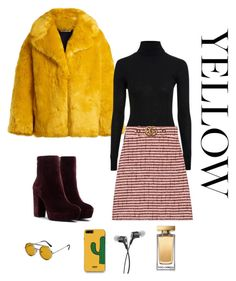 """""""Sunshine Yellow"""" by cerisejasmine ❤ liked on Polyvore featuring Diane Von Furstenberg, Topshop, Gucci, Spitfire, WithChic and Dolce&Gabbana"""