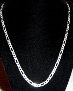 Men's Sterling Silver figaro 4mm necklaces AA7 #Unbranded #figaro