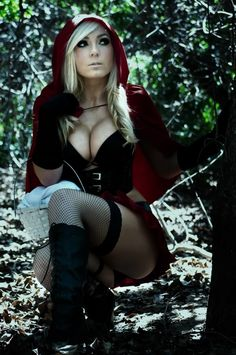 I really, truely do not think that Red Riding Hood was nearly naked.  It was Europe in 1700 (ish.)  She would have been covered from head to toe.