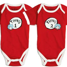 #1. Thing 1 and Thing 2 Onesies in the top 10 Clever Matching Outfits for Geeky Twin Infants