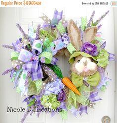 On Sale Easter Wreath -Deco Mesh Wreath- Front Door Wreaths- Spring Wreath