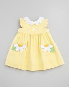 Monogrammed Pincord Dress with Daisy Pockets, Yellow, 12-24 Months by Florence Eiseman at Neiman Marcus.