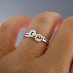 Custom Initial Rings, Set Of Two Steling Silver Custom Letter Stack Bands. $30.00, via Etsy.
