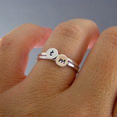 Custom Initial Rings, Set Of Two Sterling Silver Custom Letter Stack Bands. $30.00, via Etsy.