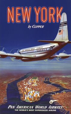 New York USA by Clipper - Boeing 377 over Manhattan Island - Pan American World Airways - Vintage Airline Travel Poster - Master Art Print - x Travel Ads, Airline Travel, Air Travel, Travel Photos, Poster Art, Art Deco Posters, Retro Posters, Vintage Advertisements, Vintage Ads
