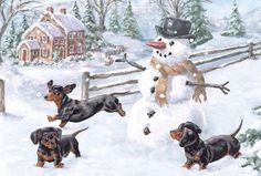 Vintage dachshunds Christmas postcard on facebook.com