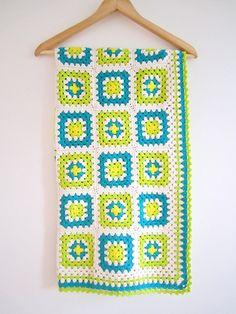 Crochet Granny Square Baby Blanket Green Cotton