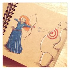 Some adorable art from DeeeSkye on Deviant Art of Baymax with some of the Disney princesses. Merida. [For more Disney tips, secrets, pics, etc., please visit my blog: http://grown-up-disney-kid.tumblr.com/ ]