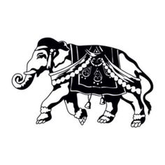 "Style and Apply Indian Elephant Wall Decal Size: 21"" H x 31"" W, Color: Gold"