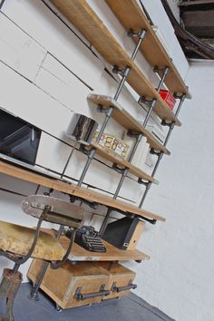 Caroline Reclaimed Scaffolding Boards and Dark Steel Pipe