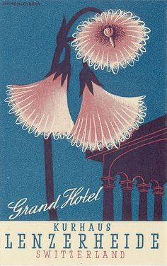 hotel poster by Art of the Luggage Label, via Flic - hotel Vintage Ski, Vintage Labels, Vintage Travel Posters, Vintage Luggage, Propaganda Art, Luggage Labels, Vintage Typography, Illustrations Posters, Design Illustrations