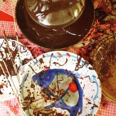 At the chocolate fountain: Pollock would be proud. #pollock #itmustbeart