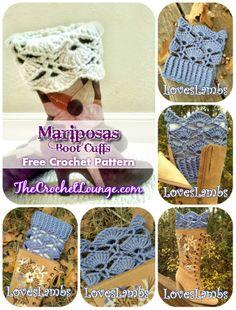 Mariposas Boot Cuffs - Free Crochet Pattern Collage | The Crochet Lounge™ Crochet Boots, Crochet Gloves, Crochet Slippers, Crochet Scarves, Diy Crochet, Crochet Crafts, Crochet Projects, Crochet Boot Cuff Pattern, Crochet Patterns