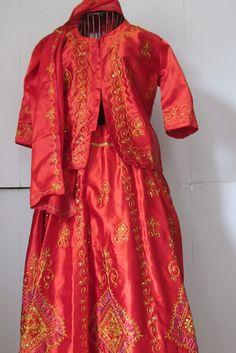 Elegant Orange India Dress Sari 3pc dupatta by ReVintageBoutique