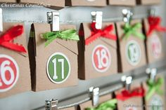 Brown Paper Packages Christmas Advent calendar! too cute! Use small brown paper bags some cute washi tape