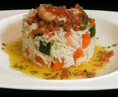 Ensalada de arroz y verduras con vinagreta de tomate