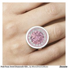 #PinkFauxJewelDiamondsGlitter #SilverRoundRing by #MoonDreamsMusic (Faux Jewels - not a real stone)