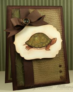 Though I probably wouldn't make a card with a turtle on it, I love the colors, design and embossing of this card!