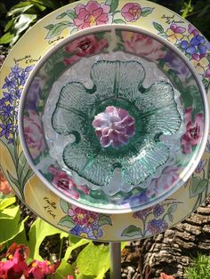 Love the colors in this beautiful flower plate.  The centerpiece is a light green candle holder that makes it very special. MiMi's Plate Flowers