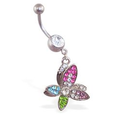 Belly ring with dangling crooked multi-colored butterfly. #bellyring #piercing #bodypiercings #bodyjewelry #butterfly ♥ $11.99 via OnlinePiercingShop.com