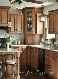 Great kitchen remodel with a removal of half wall between the living room and kitchen.: Remodeling Contractors, Home Remodeling, Four Square Homes, Half Walls, 1980s, New Kitchen, Kitchen Remodel, Kitchen Cabinets, Living Room