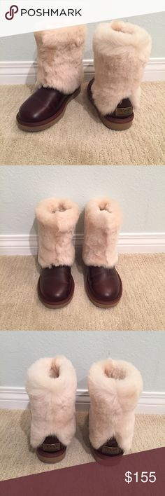 Ugg boots Chic one of a kind ugg boots! Perfect for the holidays... upper/sock lining 100% wool. Brand new, never worn. Size 6. UGG Shoes Winter & Rain Boots